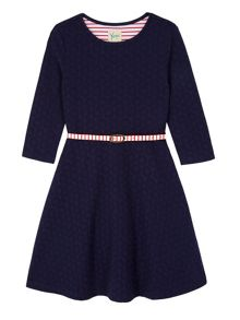 Yumi Girls Girls Ponte Skater Dress with Belt