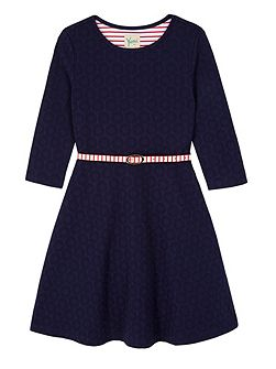 Girls Ponte Skater Dress with Belt