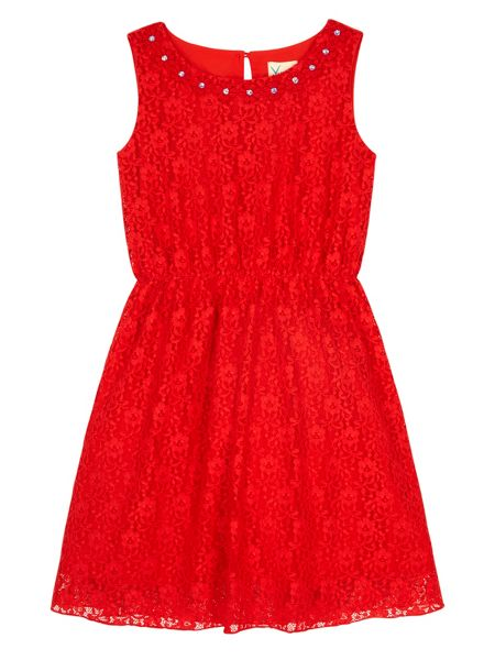 Yumi Girls Girls Embellished Daisy Lace Dress