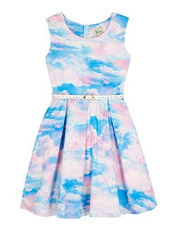 Girls Cloud Print Day Dress