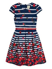 Yumi Girls Girls Stripe Floral Print Party Dress