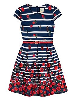 Girls Stripe Floral Print Party Dress