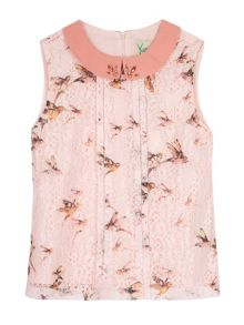 Yumi Girls Girls Bird Print Embellished Collar Top