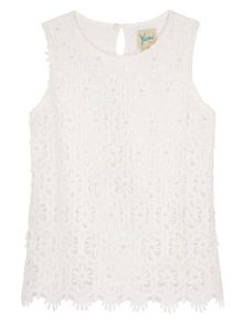 Girls Embellished Crochet Lace Top