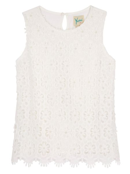 Yumi Girls Girls Embellished Crochet Lace Top