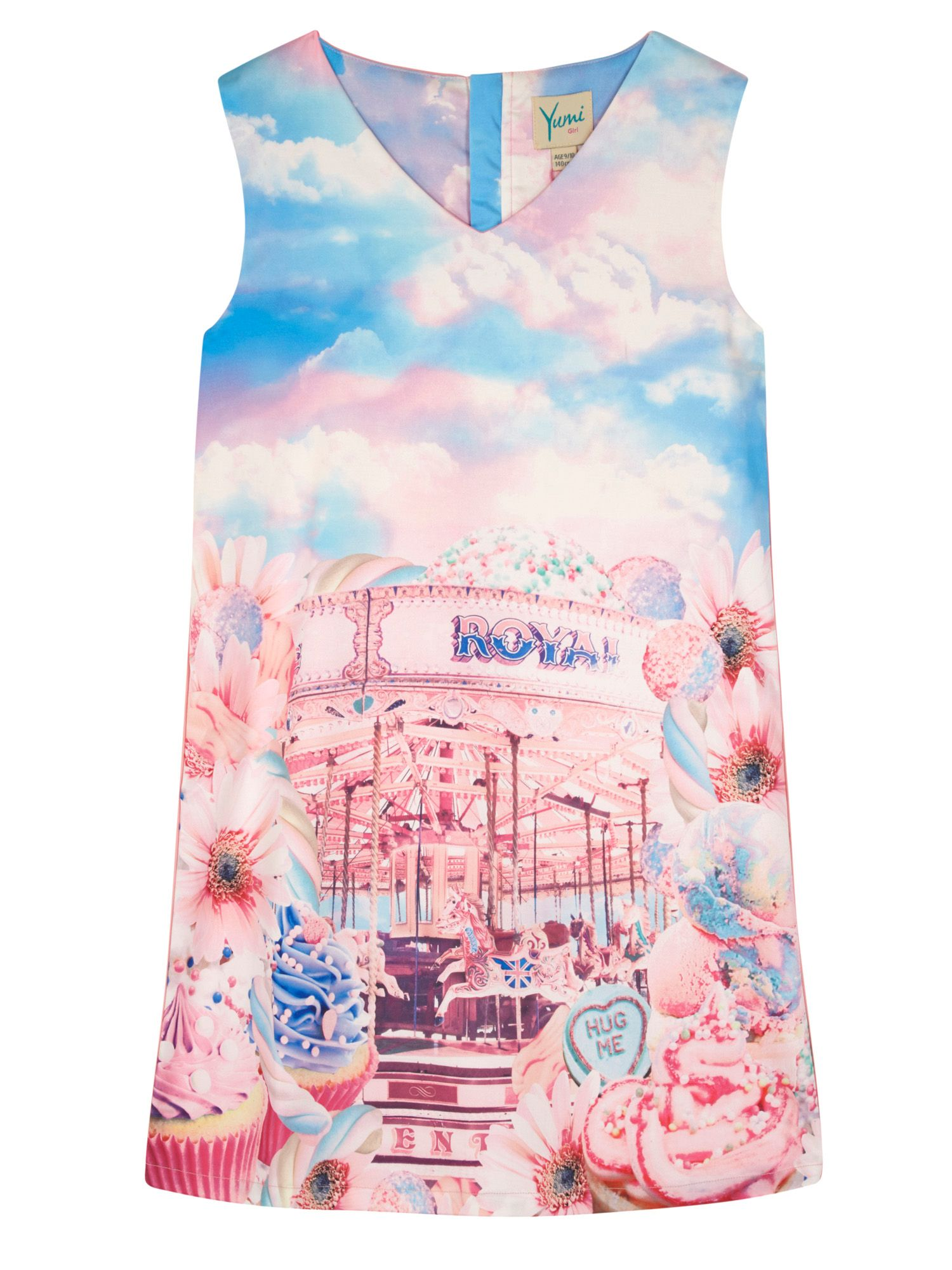 Yumi Girls Girls Carousel Print Shift Dress Pink