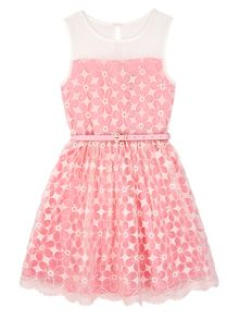 Yumi Girls Girls Embroidered Floral Prom Dress