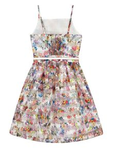 Yumi Girls Girls Floral Stripe Organza Dress