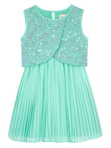 Girls Sequin Embellished Pleated Dress
