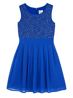 Girls Lace Pleated Dress