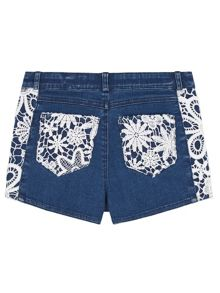 Yumi Girls Girls Crochet Denim Shorts