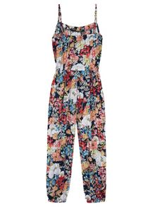 Girls Floral Print Jumpsuit