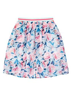 Girls Floral Print High Low Skirt