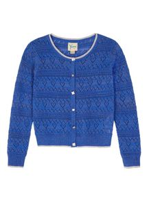 Yumi Girls Girls Heart Pointelle Cardigan