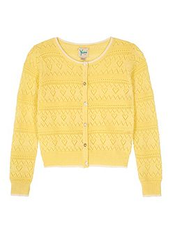 Girls Heart Pointelle Cardigan