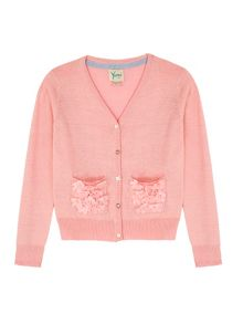Girls 3D Floral Lurex Cardigan