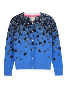 Girls Fading Floral Print Cardigan