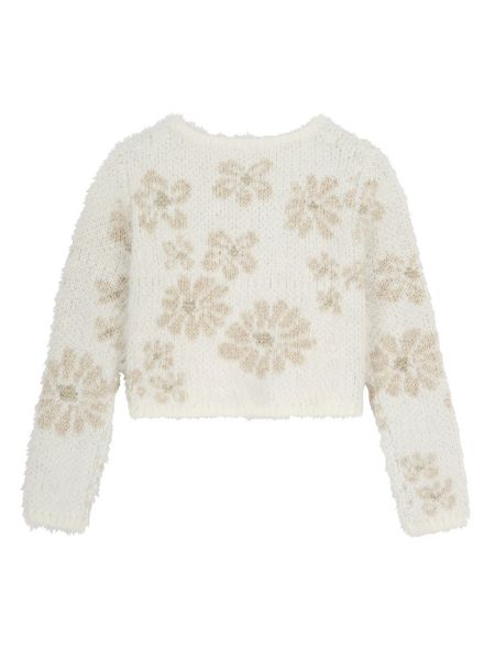 Yumi Girls Girls Mixed Yarn Floral Print Jumper