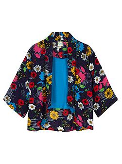 Girls Floral Print Kimono and Vest Top