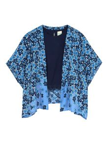Girls Floral Kimono and Crochet Top