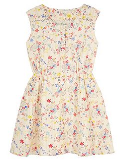 Girls Confetti Floral Print Day Dress