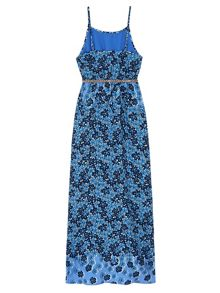 Girls Fading Floral Print Maxi Dress