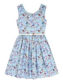 Yumi Girls Girls Bunting Print Party Dress
