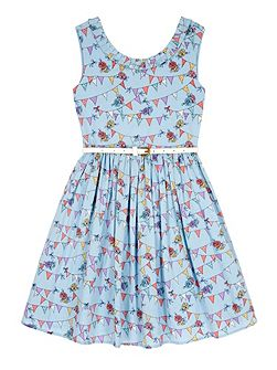 Girls Bunting Print Party Dress