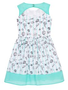 Yumi Girls Girls Seashell Stripe Print Day Dress