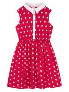 Yumi Girls Girls Polka Dot Collar Dress