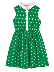Girls Polka Dot Collar Dress