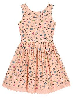 Girls Seaside Pier Print Day Dress