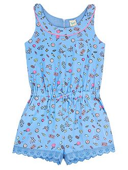 Girls Pier Print Playsuit