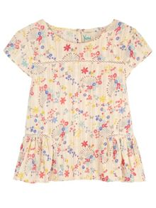 Girls Confetti Floral Print Peplum Top