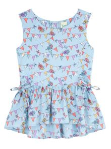 Girls Bunting Print Peplum Top
