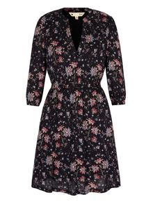 Yumi Retro Floral Print Kaftan Dress