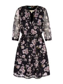 Yumi Eastern Floral Print Kaftan Dress