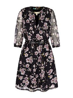 Eastern Floral Print Kaftan Dress