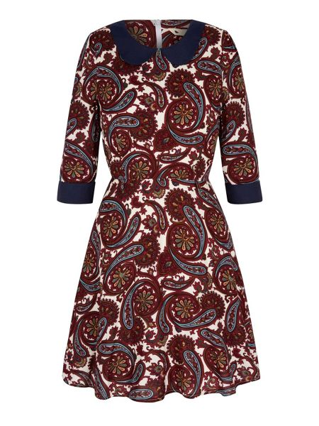 Yumi Paisley Print Collar Dress