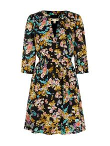 Yumi Floral Print Kaftan Dress