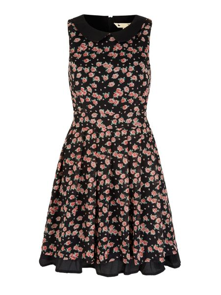 Yumi Rose Print Collar Dress