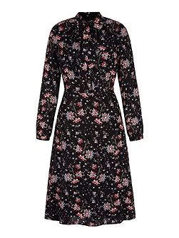 Retro Floral Midi Shirt Dress