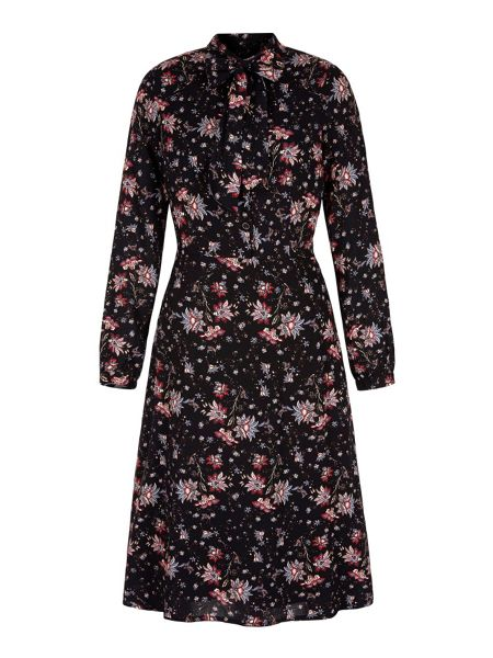 Yumi Retro Floral Midi Shirt Dress
