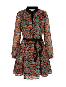Yumi Floral Motif Print Collar Dress