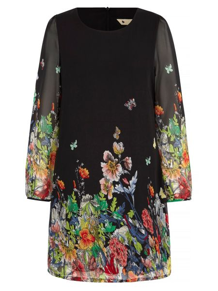 Yumi Butterfly & Floral Print Dress
