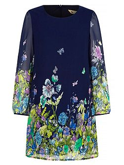 Butterfly & Floral Print Dress