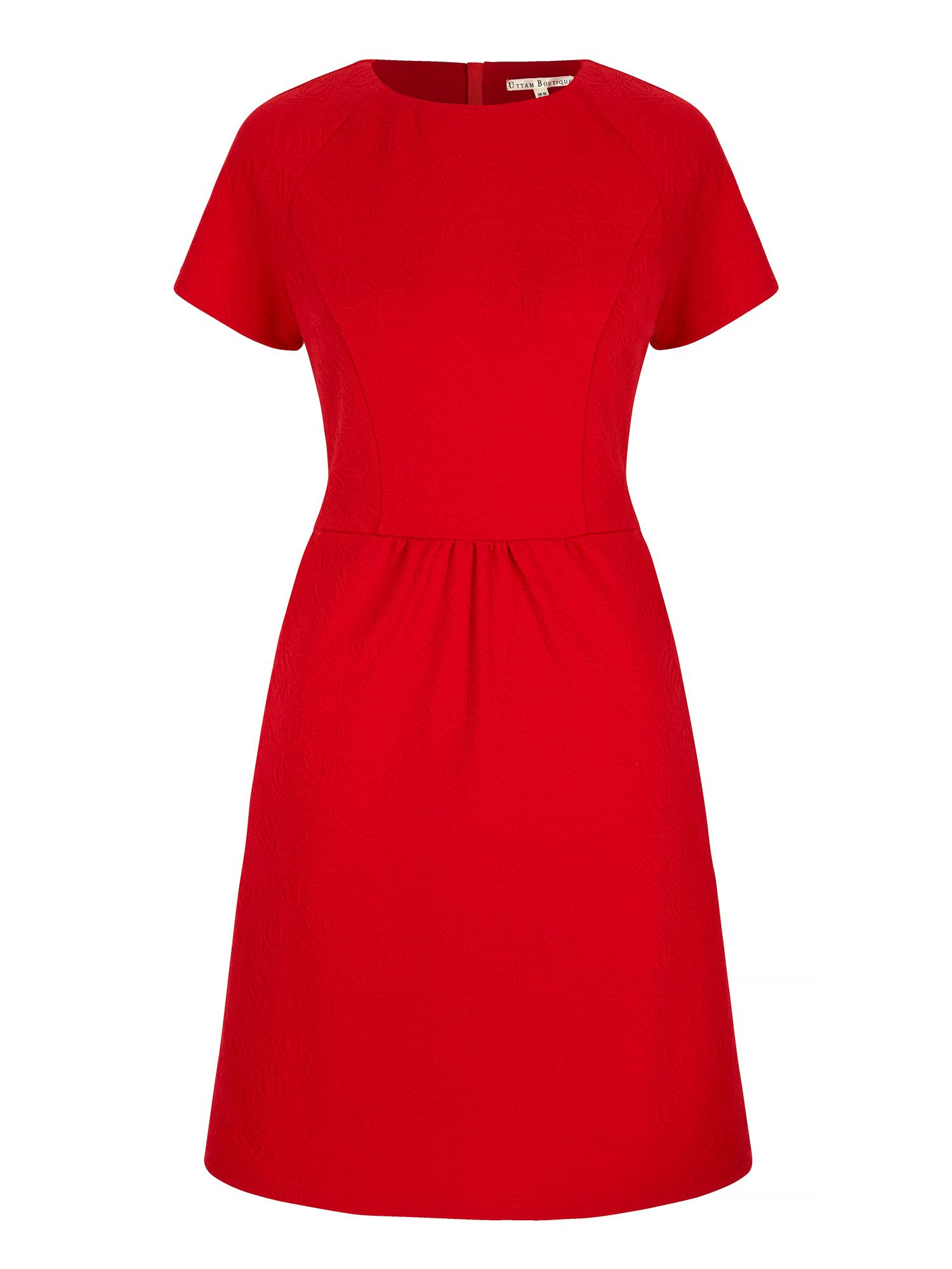 Uttam Boutique Textured Ponte Day Dress, Red