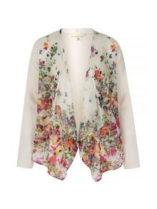 Cascading Floral Print Waterfall Cardigan