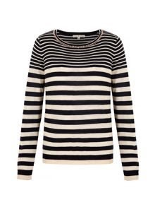 Uttam Boutique Embellished Stripe Print Jumper