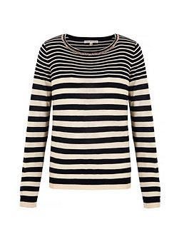Embellished Stripe Print Jumper